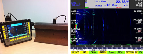 Testing of railway rails. Probe without adapter and detected flaws.